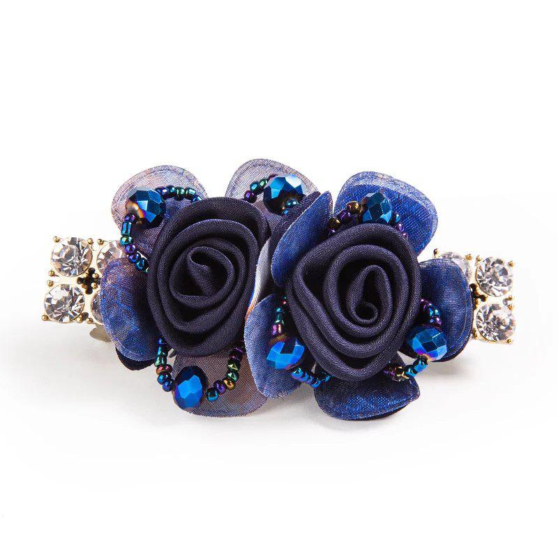 New Stainless Imitated Crystal Flower Spring Clip Nice and Grace - BLUE