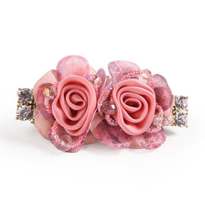 New Stainless Imitated Crystal Flower Spring Clip Nice and Grace - PINK