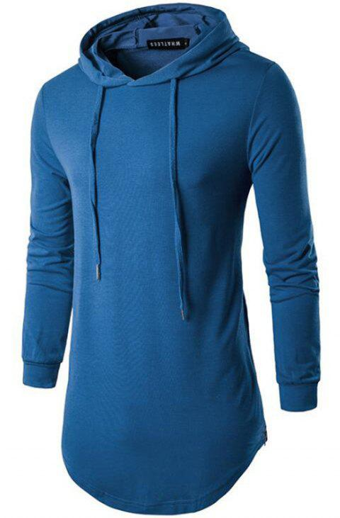 Men's Sports Casual Hoodie Solid  Long Sleeve - SKY BLUE L
