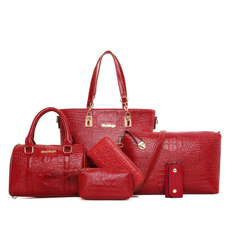 Six Woolly Fashionable Mother Crocodile Grain Water Bucket Package Bag - RED