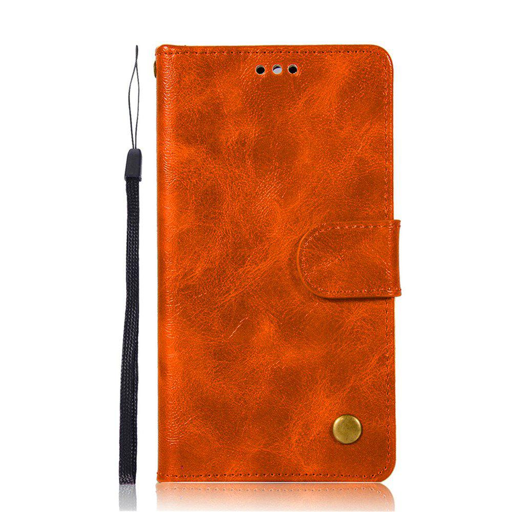 Flip Leather Case PU Wallet Cover Cases For Huawei Y6 2017 Smart Cover Luxurious Retro Fashion Phone Bag with Stand - GOLDEN BROWN