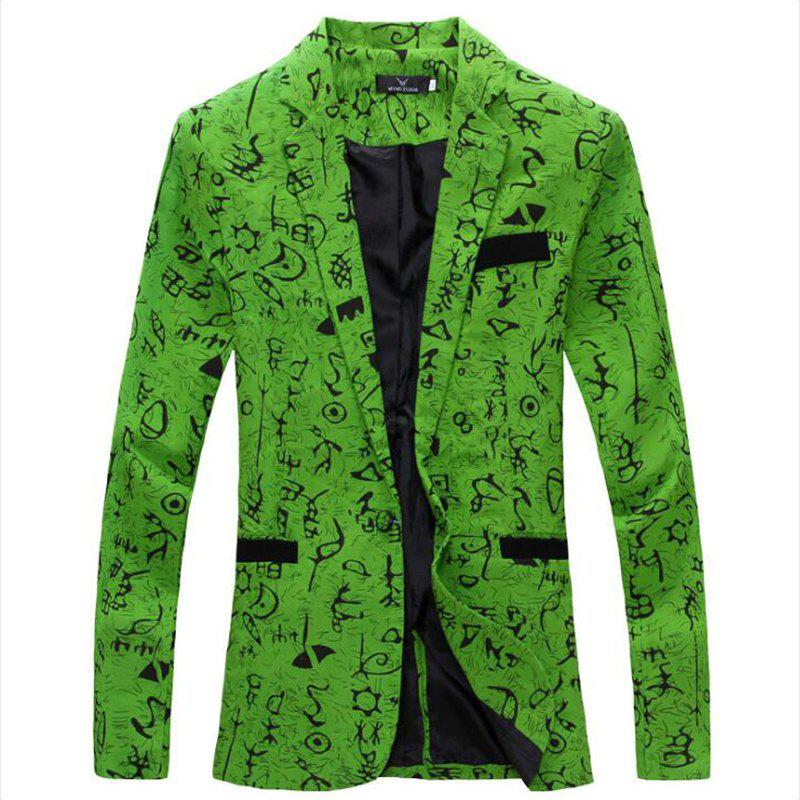 Men's Casual Blazer Cotton Blend Pattern Blazer Casual Coat - GREEN XL