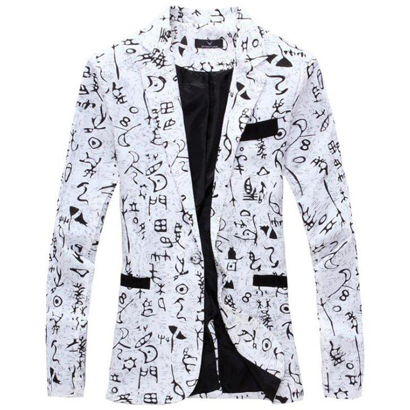 Men's Casual Blazer Cotton Blend Pattern Blazer Casual Coat - WHITE M