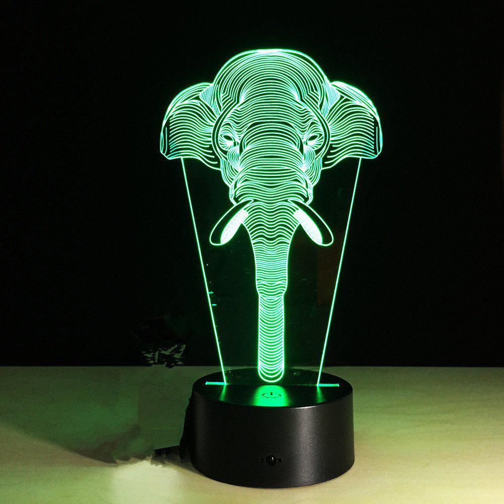 Yeduo 7 Color Change Light Elephants Lights Acrylic Vision 3D Stereoscopic Light Led Lamp Touch Switch Gift Holiday Light - BLACK