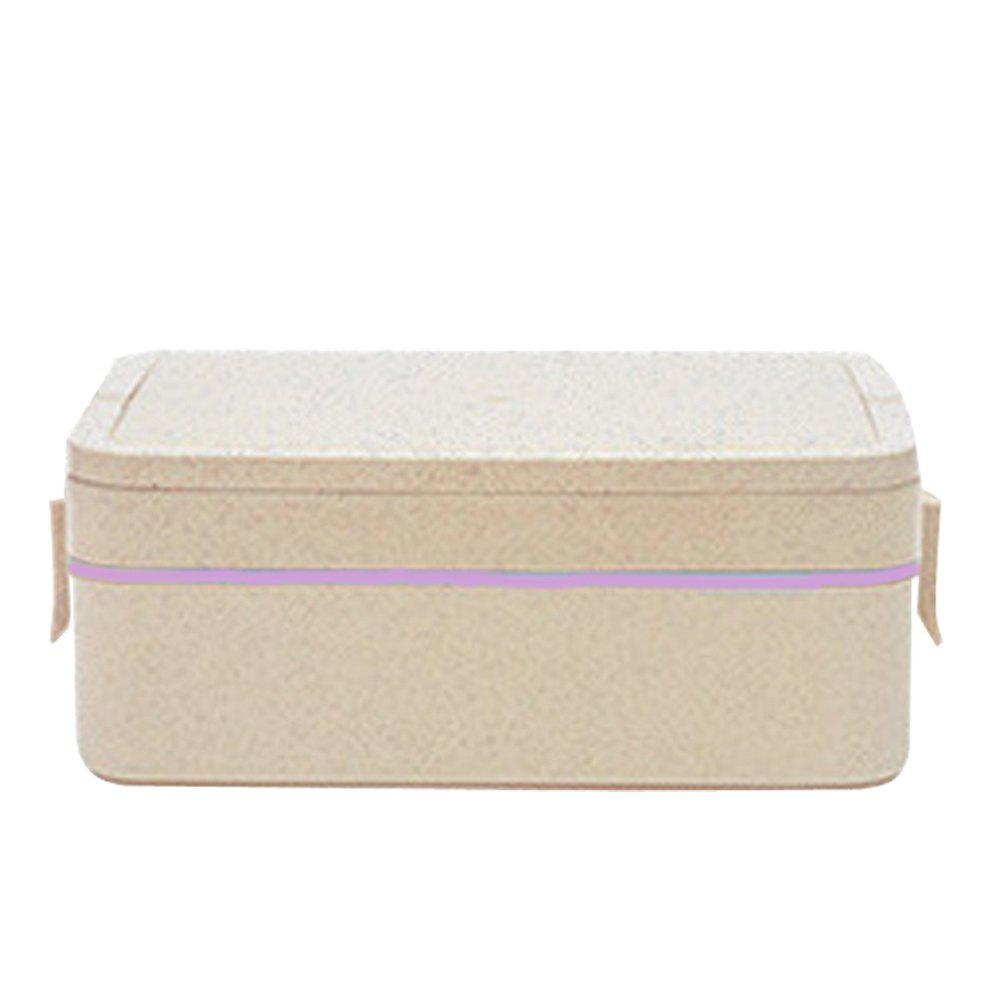 GY03 Portable Sealed Straw Double-Layer Lunch Box 3 Color - PINK
