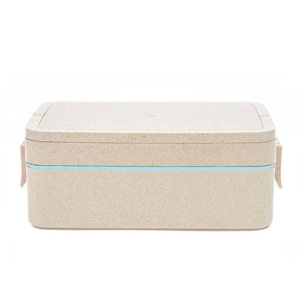 GY03 Portable Sealed Straw Double-Layer Lunch Box 3 Color - CYAN OR AQUA