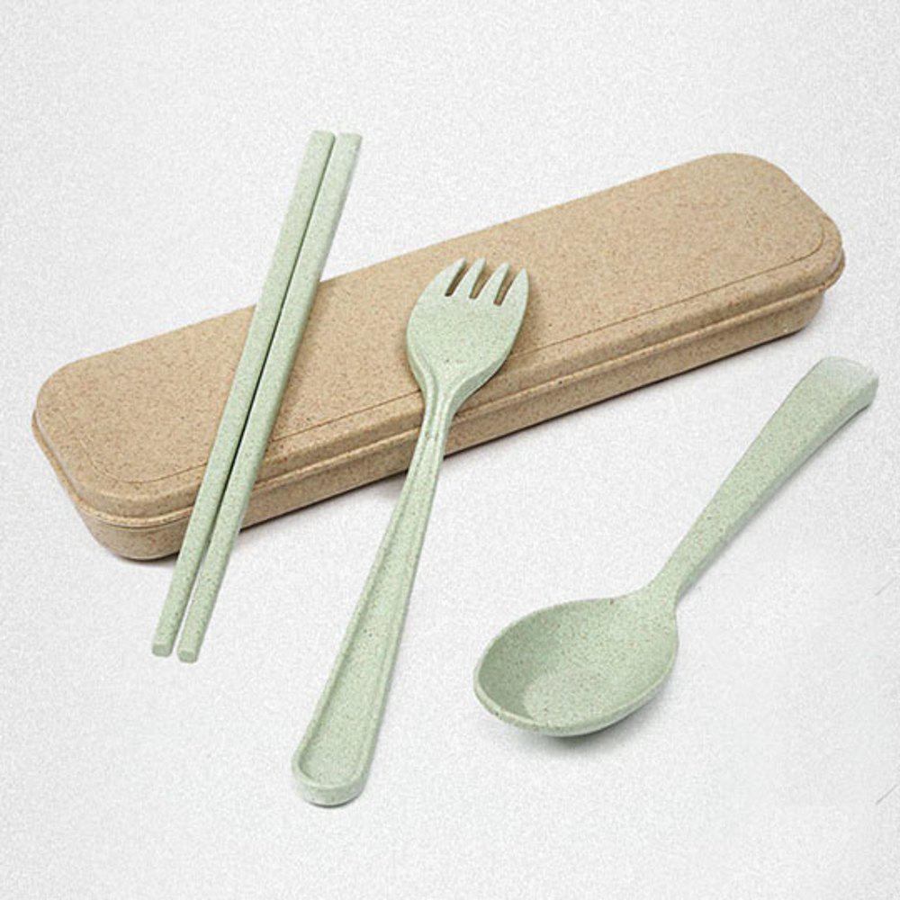 563 Wheat Straw Cutlery Three-Piece 4 Color - GREEN THUMB