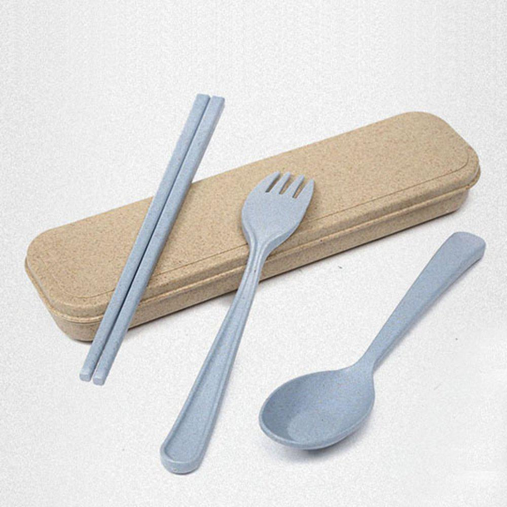 563 Wheat Straw Cutlery Three-Piece 4 Color - JEANS BLUE