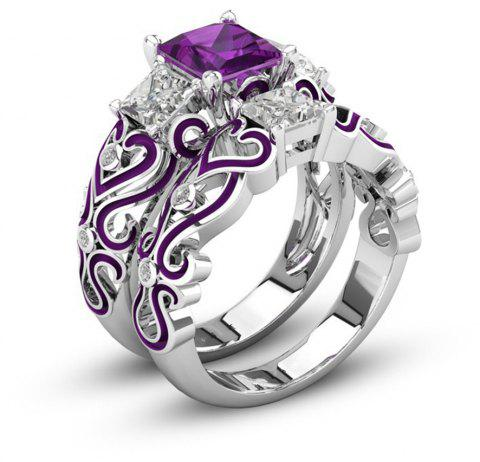 Fashion Jewelry  Plated Rhodium Red Zircon Set Rings - VIOLET US SIZE 8