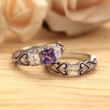 Fashion Jewelry  Plated Rhodium Red Zircon Set Rings - VIOLET US SIZE 6