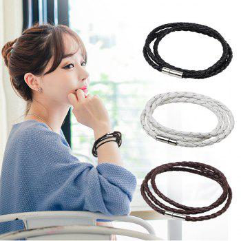 Multilayer Woven Alloy Weave Rope Wristband Leather Bangle Bracelet - BROWN 0.1CM