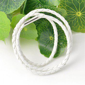 Multilayer Woven Alloy Weave Rope Wristband Leather Bangle Bracelet - WHITE 0.1CM