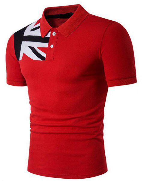 Men's Casual Short Sleeve Polo Shirt - RED L