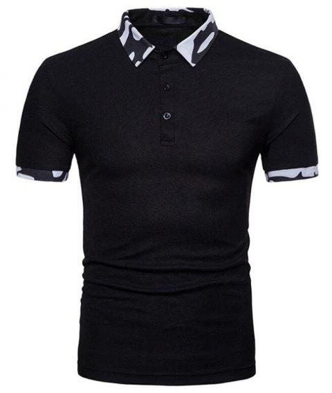 Men  Casual Cotton Short Sleeve Polo Shirt - BLACK S