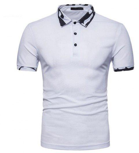 Men  Casual Cotton Short Sleeve Polo Shirt - WHITE XL