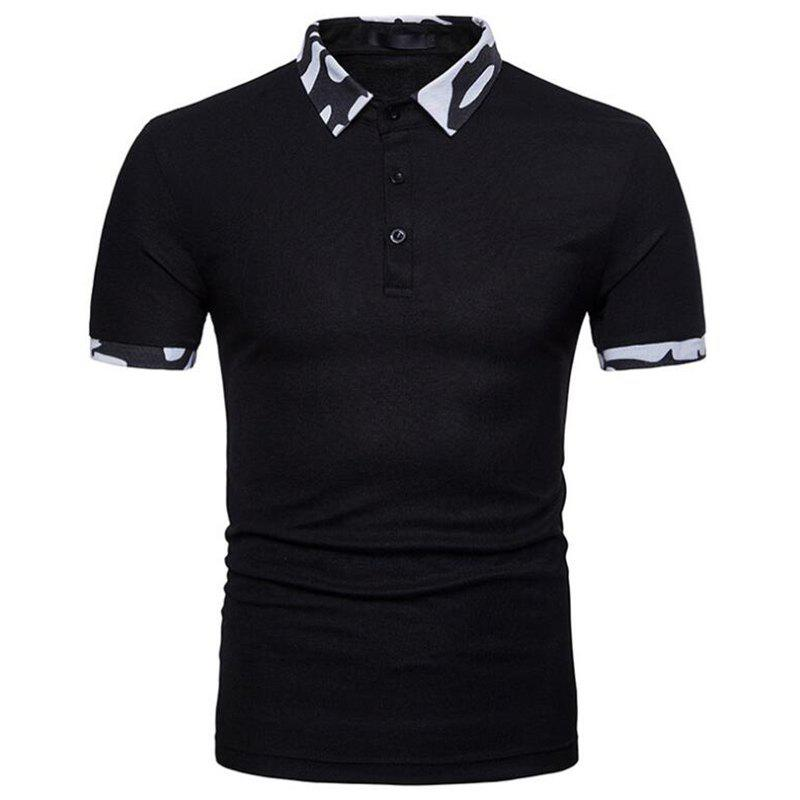Men  Casual Cotton Short Sleeve Polo Shirt - BLACK 2XL