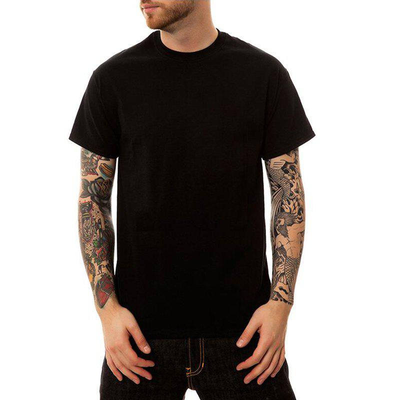 Men's Casual Cotton Round Neck Short Sleeves T-shirt - BLACK XL