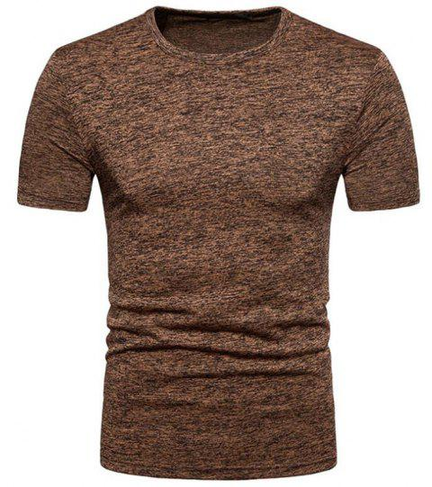 Men's Casual Sport Elasticity Round Neck Short Sleeves T-shirt - COFFEE S