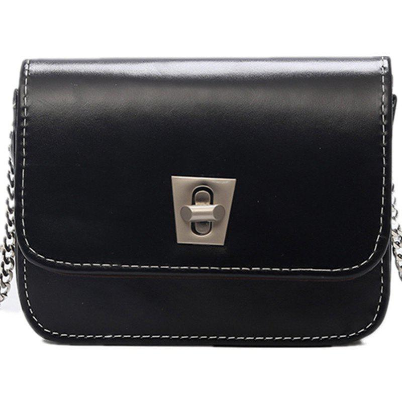 Simple Shoulder Messenger Bag Trend Small Square Package - BLACK