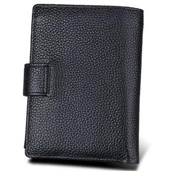 Genuine Leather Men Rfid Wallet Cowhide Cover Coin Purse Male Wallets - BLACK