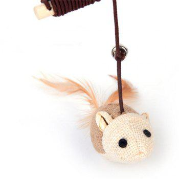 Mouse Shape Cat Teaser with A Bell Stick - CAMEL BROWN