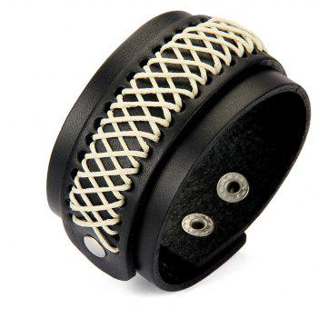 Fashion Jewelry with Wide Skin and Double Layer Rope Bracelet - BLACK