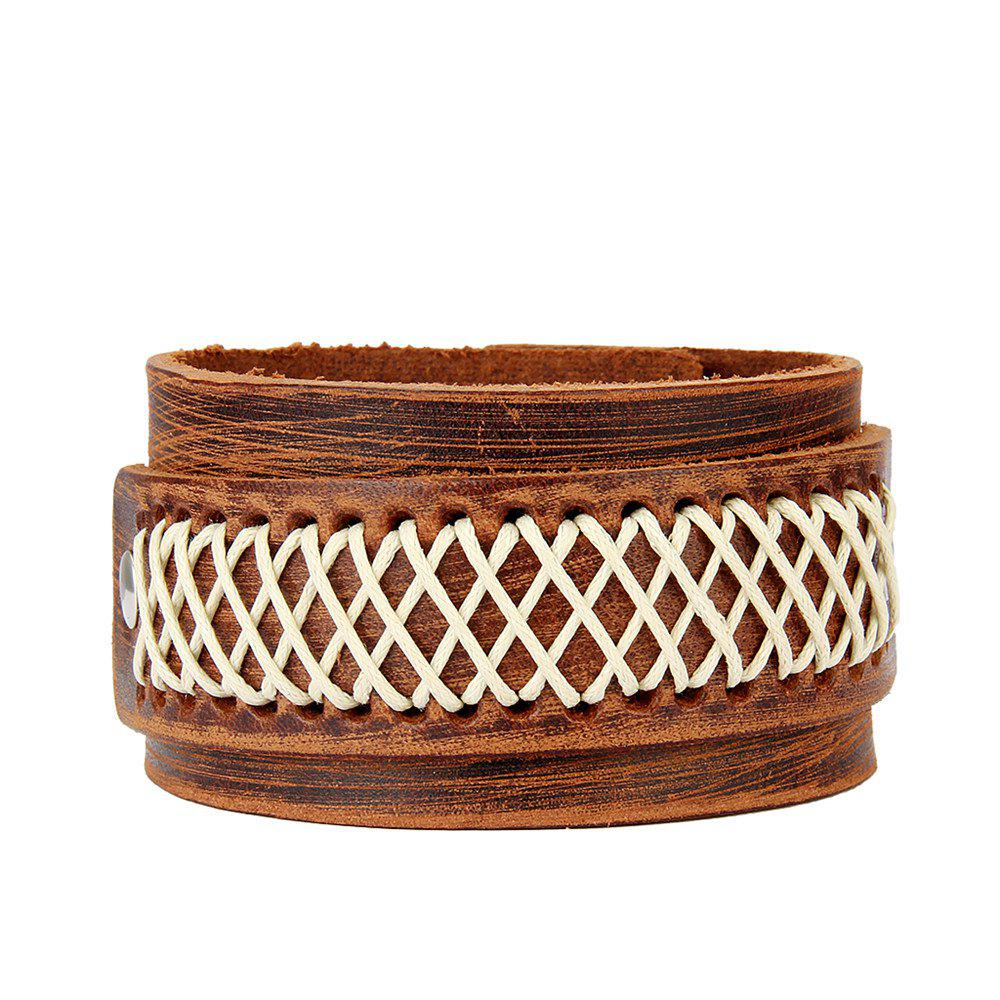 Fashion Jewelry with Wide Skin and Double Layer Rope Bracelet - BROWN