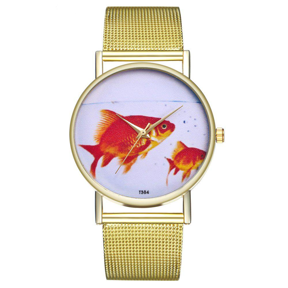ZhouLianFa T384 Fashion Goldfish Pattern Quartz Watch - GOLD