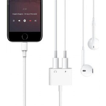 Dual Headphone Jack Adapter Audio with Charge Splitter for iPhone X / 8/ 7 Plus - WHITE