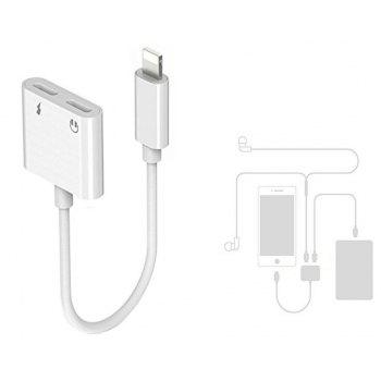 gocomma Dual Headphone Jack Adapter Audio with Charge Splitter for iPhone X / 8/ 7 Plus - WHITE