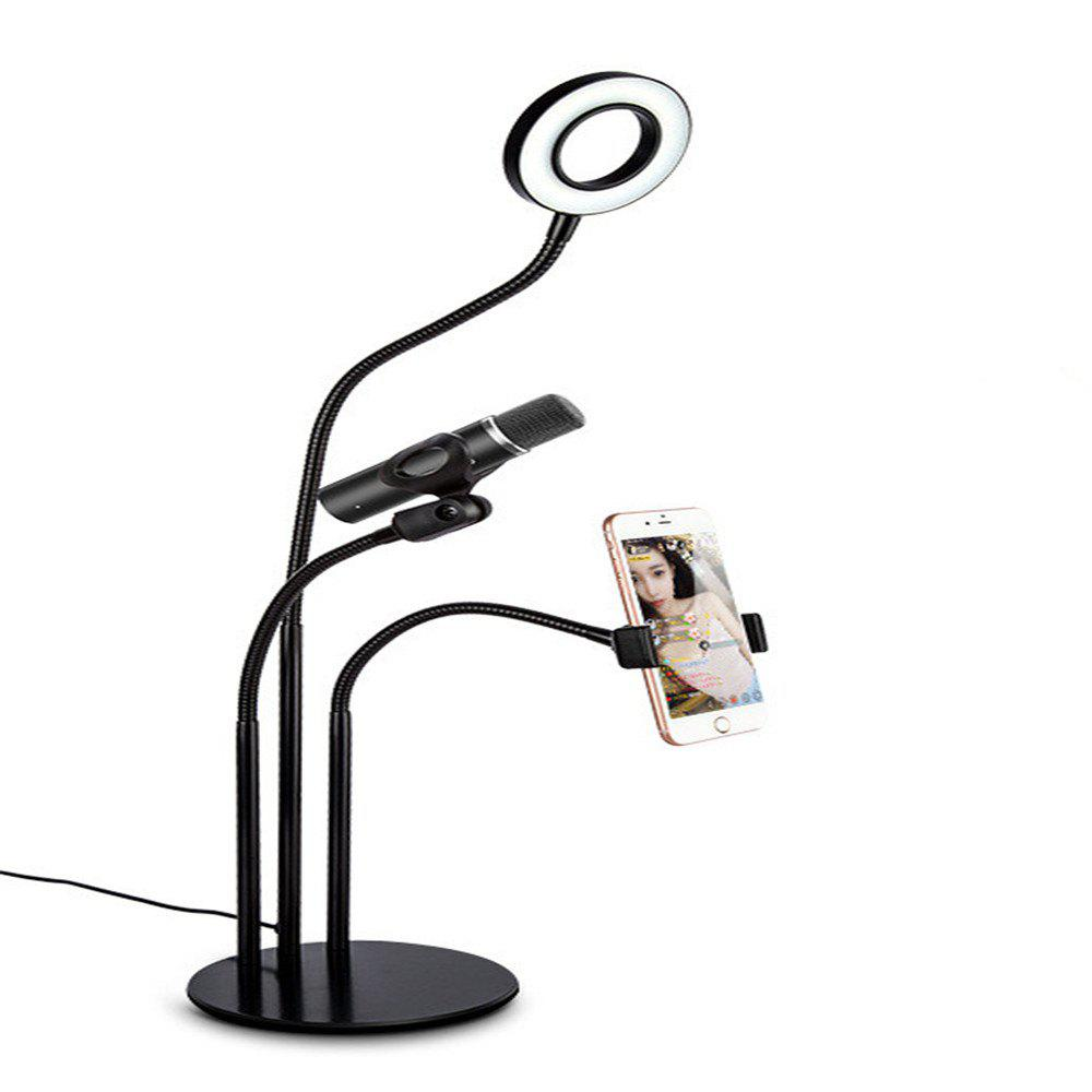 Live Broadcast Fill Light with Cell Phone Holder Microphone Bracket - BLACK