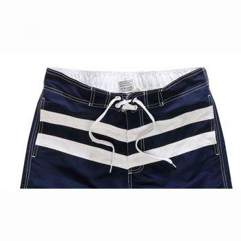Men's Boho One Piece Striped Basic Swimming Trunks - NAVY BLUE XL