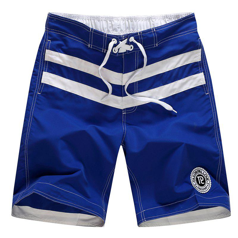 Men's Boho One Piece Striped Basic Swimming Trunks - ROYAL BLUE XL