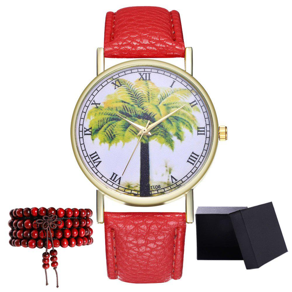 Kingou T108-1 Trendy Landscape Tree Pattern Neutral Quartz Watch - RED