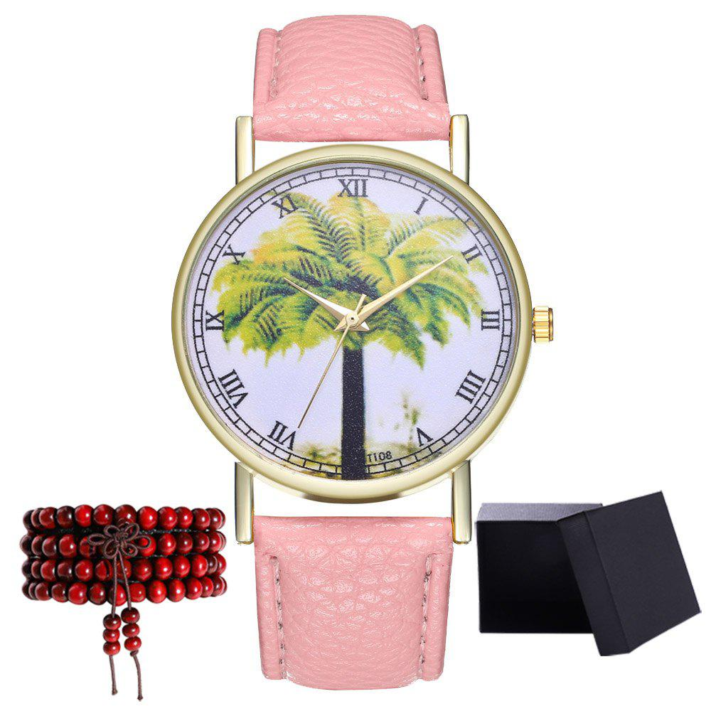 Kingou T108-1 Trendy Landscape Tree Pattern Neutral Quartz Watch - PINK
