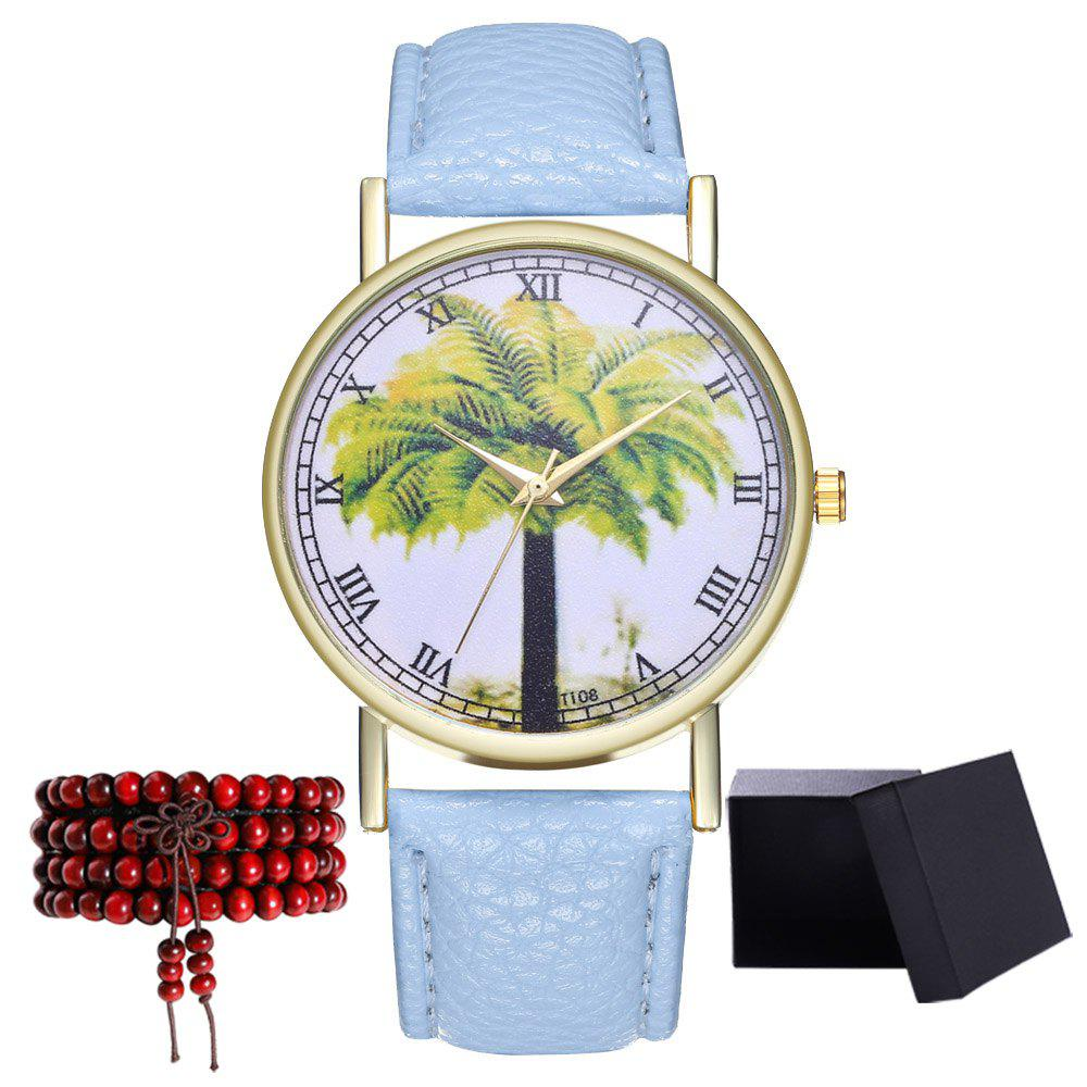 Kingou T108-1 Trendy Landscape Tree Pattern Neutral Quartz Watch - LIGHT BLUE