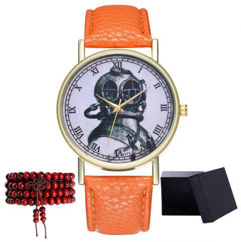 Kingou TT111-1 Elegant Helmet Pattern Neutral Quartz Watch - ORANGE
