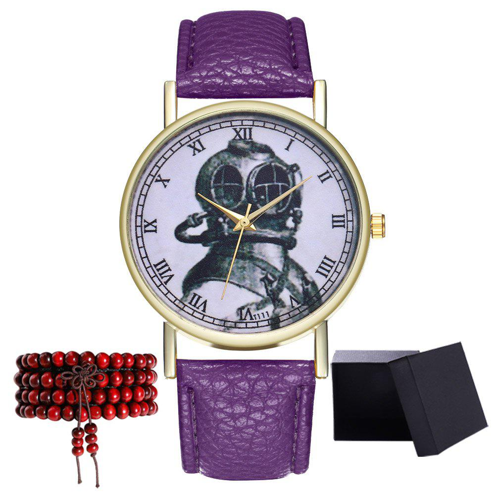 Kingou TT111-1 Elegant Helmet Pattern Neutral Quartz Watch - VIOLET