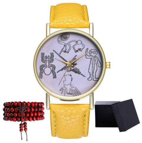 Kingou T112-1 Beautiful Painting Pattern Neutral Quartz Watch - YELLOW