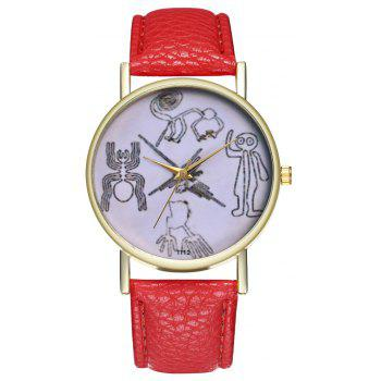 Kingou T112-1 Beautiful Painting Pattern Neutral Quartz Watch - RED