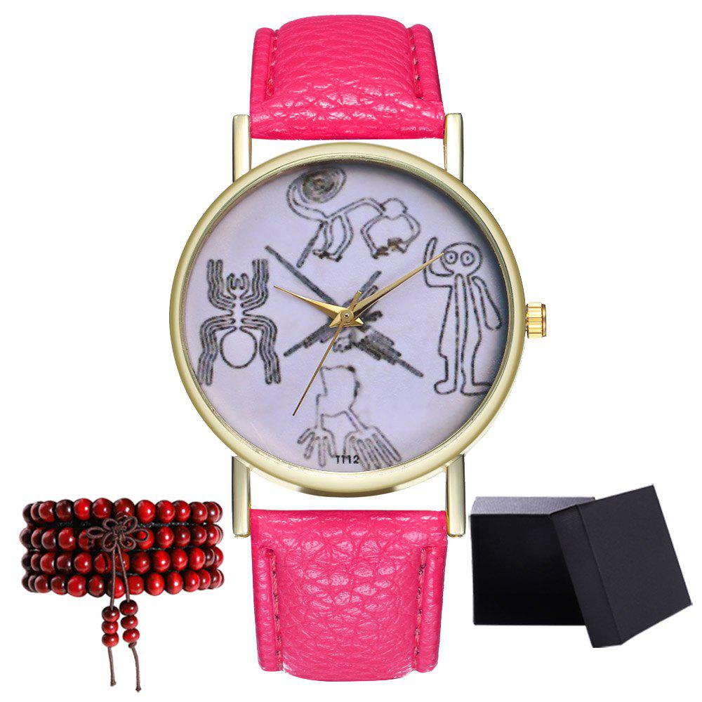 Kingou T112-1 Beautiful Painting Pattern Neutral Quartz Watch - DEEP PINK