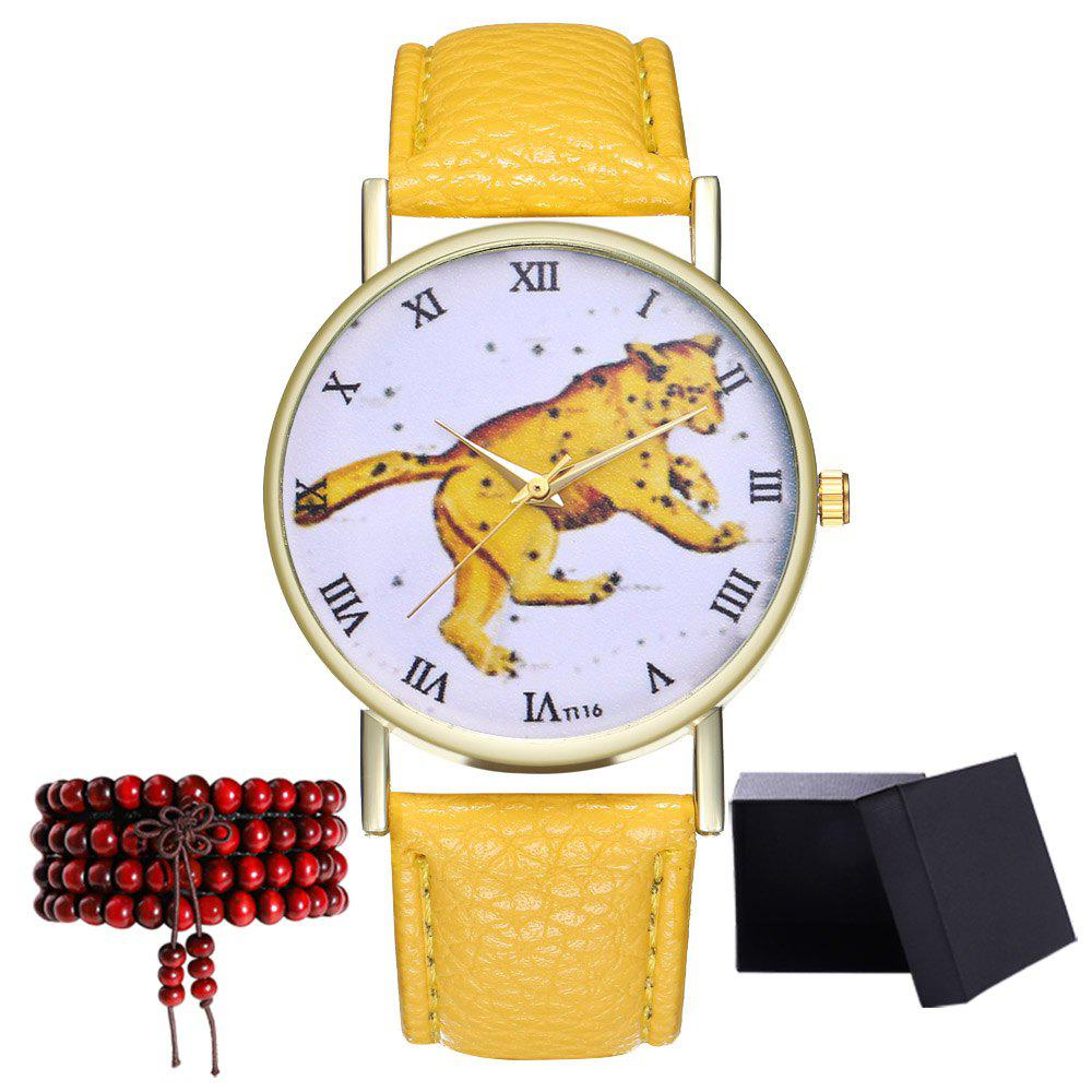 Kingo T116-1 Boutique Tiger Pattern Men's Quartz Watch - YELLOW