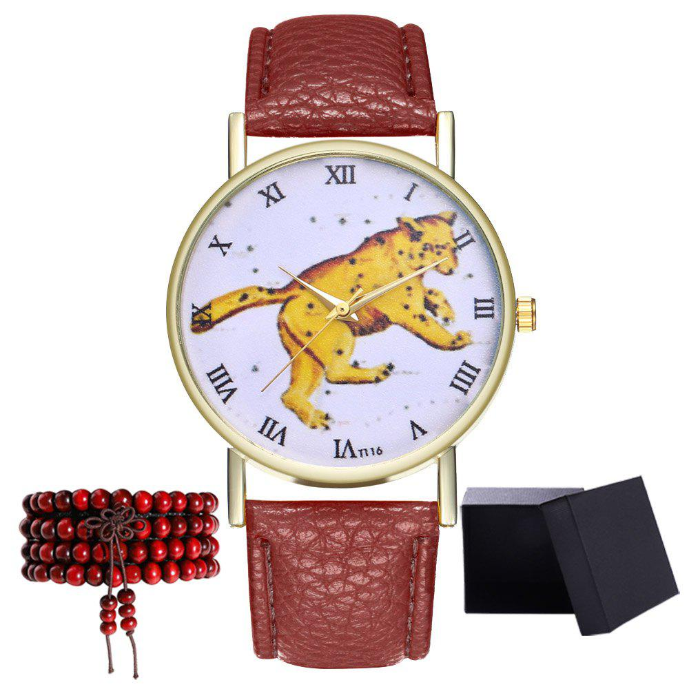 Kingo T116-1 Boutique Tiger Pattern Men's Quartz Watch - COFFEE