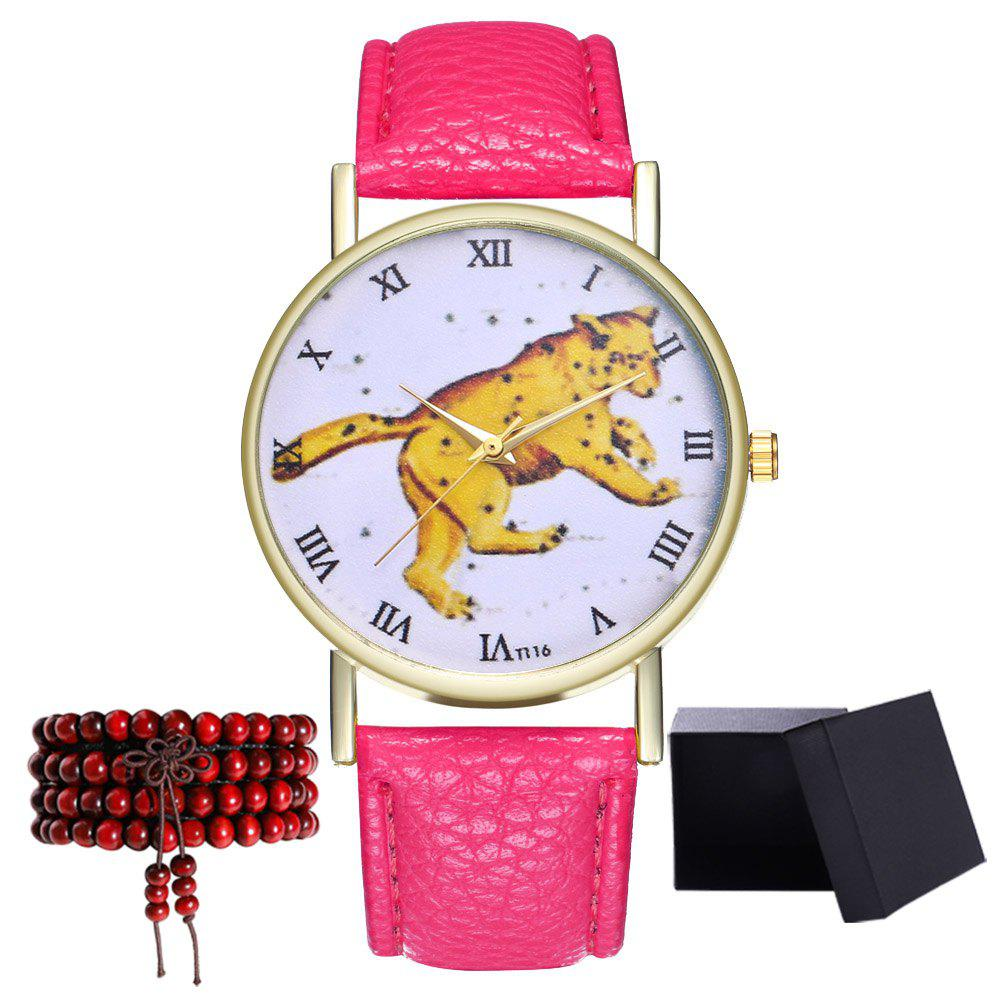 Kingo T116-1 Boutique Tiger Pattern Men's Quartz Watch - BLOSSOM PINK