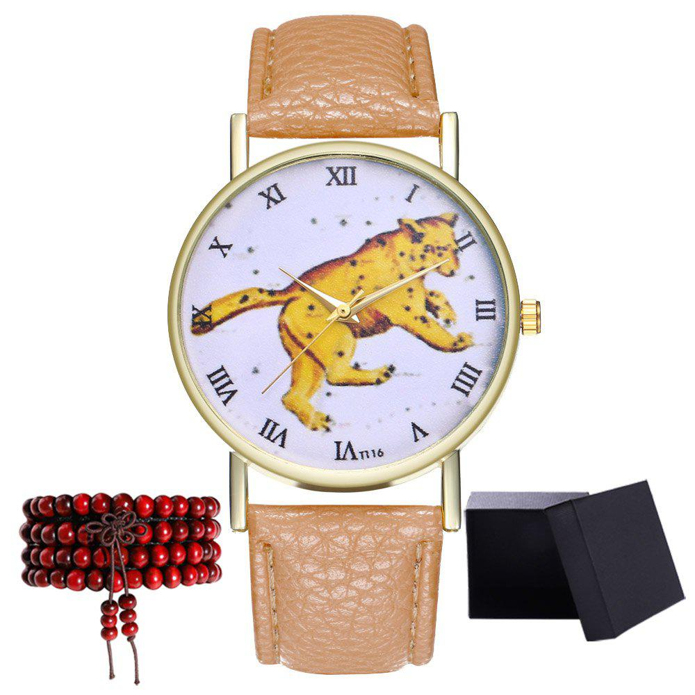 Kingo T116-1 Boutique Tiger Pattern Men's Quartz Watch - BEIGE