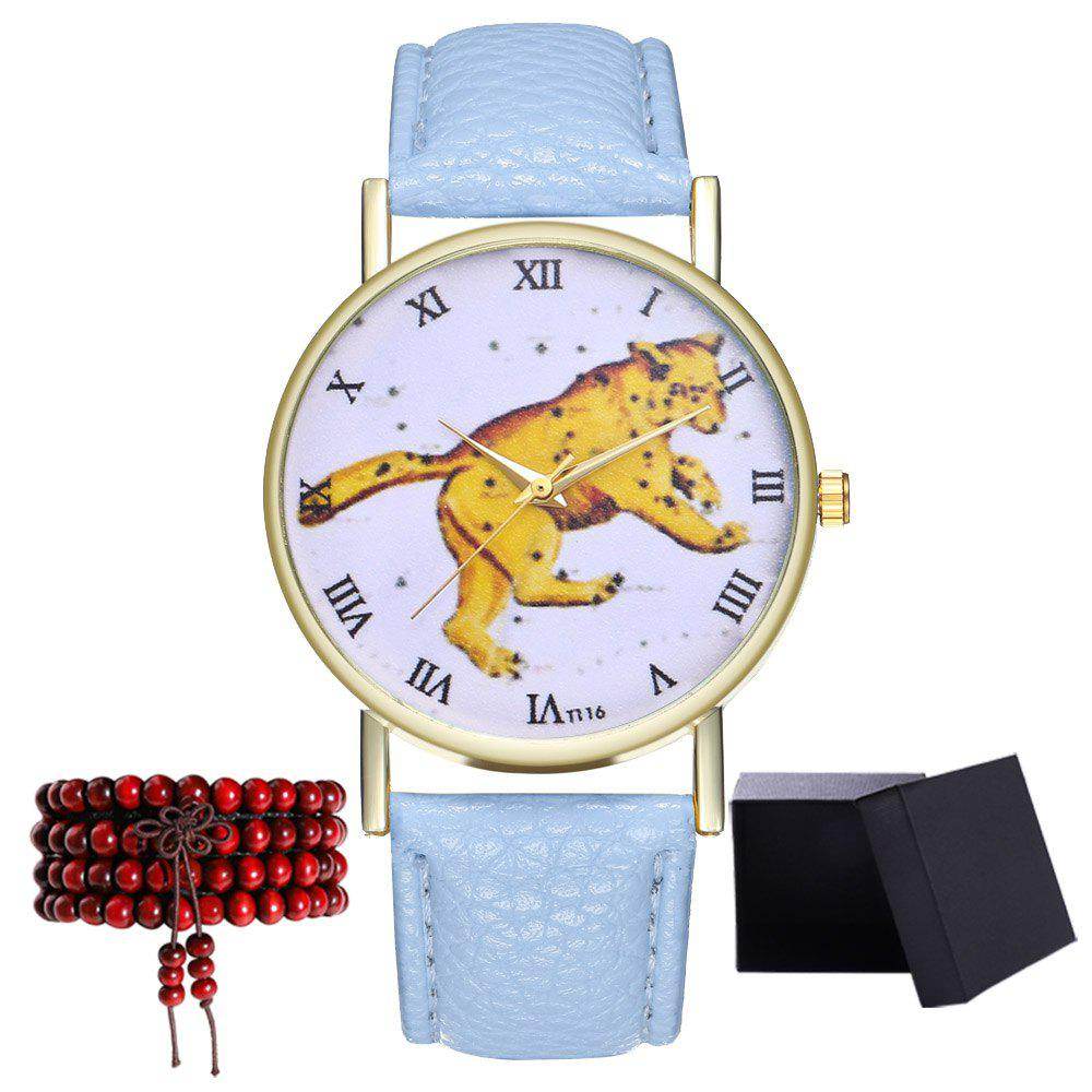 Kingo T116-1 Boutique Tiger Pattern Men's Quartz Watch - LIGHT BLUE