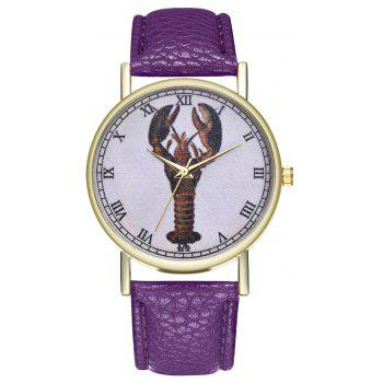 Kingo T313-1 Mini Shrimp Pattern Neutral Quartz Watch - VIOLET