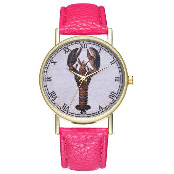 Kingo T313-1 Mini Shrimp Pattern Neutral Quartz Watch - DEEP PINK