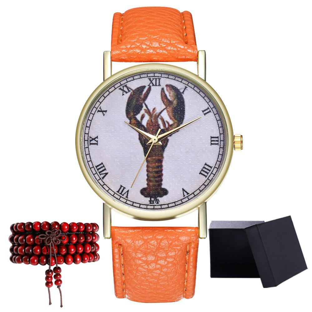Kingo T313-1 Mini Shrimp Pattern Neutral Quartz Watch - ORANGE