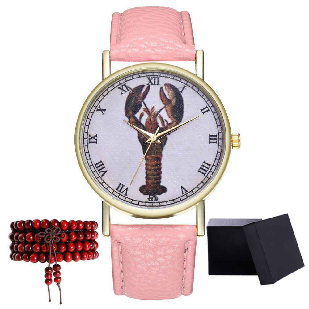 Kingo T313-1 Mini Shrimp Pattern Neutral Quartz Watch - PINK